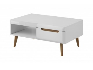 Adele - Coffee Table - 107 / 46 / 67 cm, white / white gloss + riviera oak trim