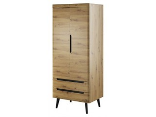 Adele - Wardrobe - 80 / 197 / 56 cm, artisan oak + black trim