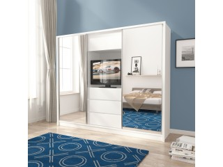 TV wardrobe, white + mirror 250cm