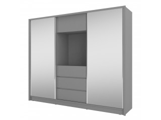 TV wardrobe, grey + mirror 254x214x62.0cm