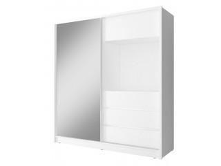 TV wardrobe, white + mirror 200cm