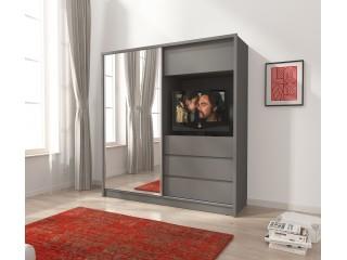 TV wardrobe, Grey + mirror 200cm