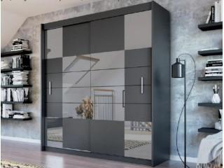 ARIEL 2 wardrobe, graphite + graphite mirror 203cm