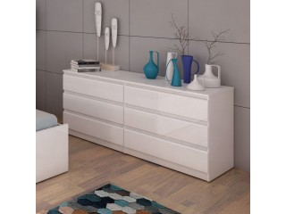Nina - Wide Chest of 6 Drawers (3+3) in White High Gloss