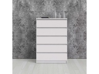 Nina - Chest of 5 Drawers in White High Gloss