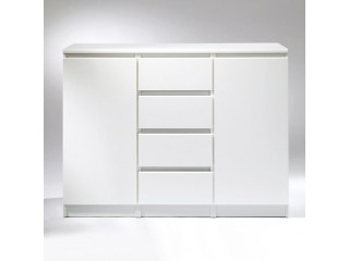 Nina - Sideboard - 4 Drawers 2 Doors in White High Gloss