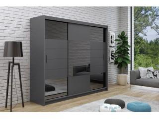 ARIEL 2 wardrobe, graphite + graphite mirror 250cm