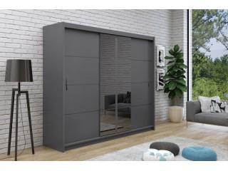 PORTI 2 250cm wardrobe, graphite + graphite mirror