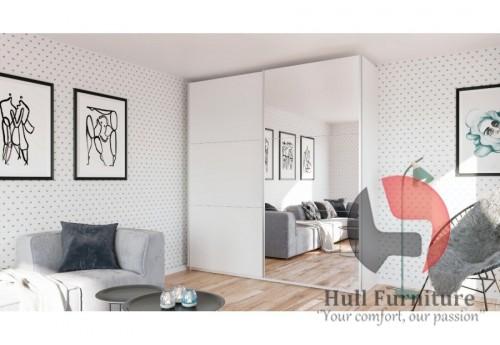 ROSE 200 cm tall wardrobe, white + mirror