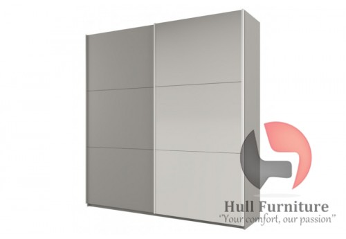ROSE 200 cm tall wardrobe, platinum-light grey + mirror