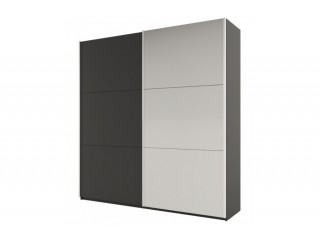 ROSE 225 cm tall wardrobe, graphite-dark grey + mirror