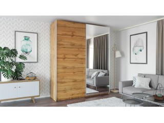 ROSE 225 cm tall wardrobe, wood effect wotan oak + mirror