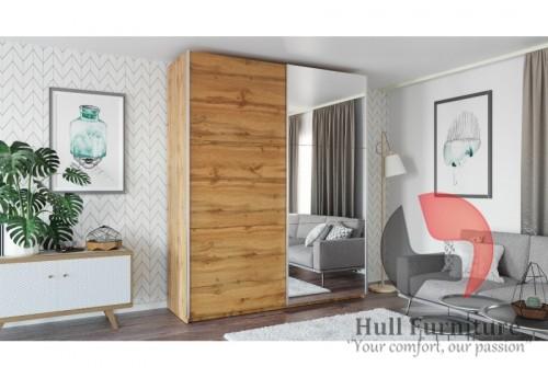 ROSE 225 cm tall wardrobe, wood effect wotan oak + mirror