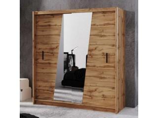 VENICE 203cm wardrobe, wood effect wotan oak + mirrors