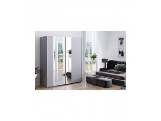 KALA 203cm wardrobe, PLATINUM-LIGHT GREY+ mirrors