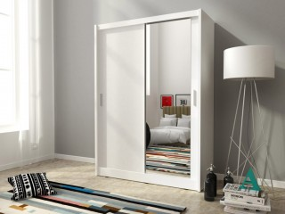 Maya wardrobe 130cm, 1 large mirror, white matt