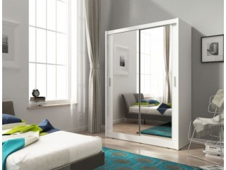 Maya wardrobe 130cm, 2 large mirrors, white matt