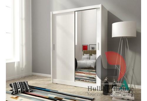 Maya wardrobe 150cm, 1 large mirror, white matt