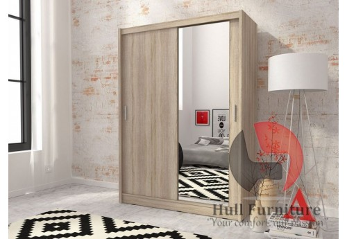 Maya wardrobe 150cm, 1 large mirror, sonoma