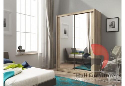 Maya wardrobe 150cm, 2 large mirrors, sonoma
