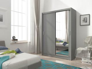 Maya wardrobe 130cm, 1 large mirror, grey matt