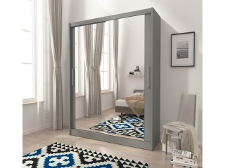 Maya wardrobe 130cm, 2 large mirrors, grey matt