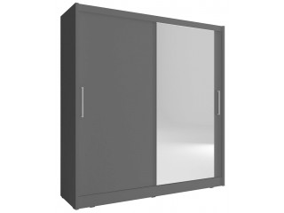 Maya I wardrobe 200cm, 1 large mirror, grey matt