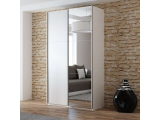 VIVA wardrobe 120cm, large mirror, white matt