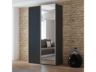 VIVA 120cm Szafa przesuwna, czarny mat + lustro