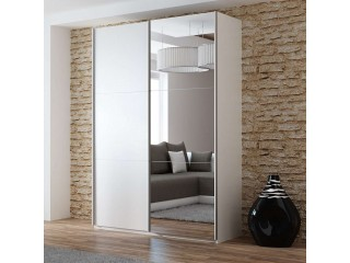 VIVA wardrobe 150cm, large mirror, white matt