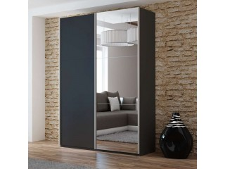 VIVA wardrobe 150cm, black + large mirror