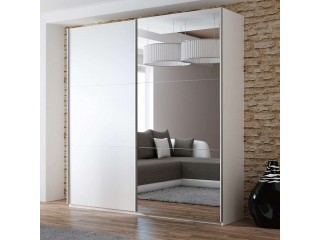 VIVA wardrobe 200cm, large mirror, white matt