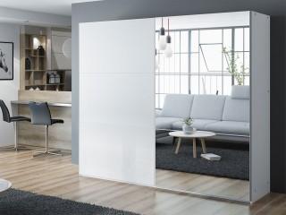VIVA wardrobe 225cm, large mirror, white matt