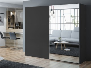 VIVA wardrobe 225cm, black + large mirror
