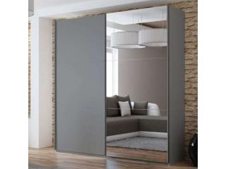 VIVA wardrobe 225cm, graphite-grey + large mirror