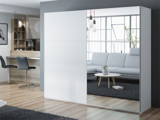 VIVA wardrobe 250cm, large mirror, white matt