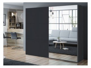 VIVA wardrobe 250cm, large mirror, black matt