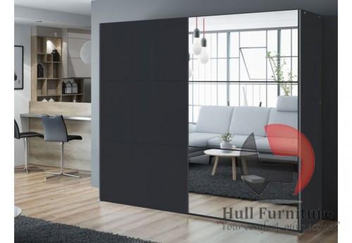 VIVA wardrobe 250cm, black + large mirror