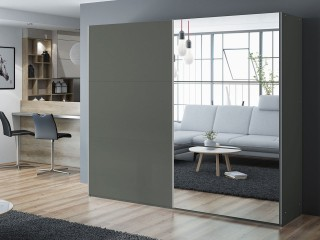 VIVA wardrobe 250cm, large mirror, graphite-grey