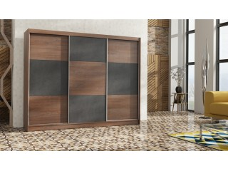 COBA wardrobe 250cm, sterling oak + brown concrete