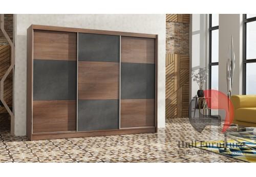 COBA wardrobe 250cm, sterling oak + brown concrete