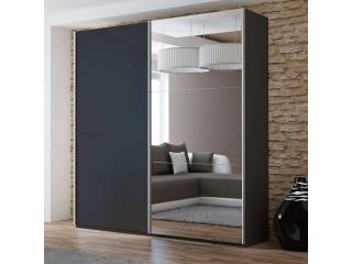 VIVA wardrobe 200cm, black + large mirror