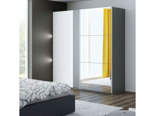 TITAN wardrobe 200cm, graphite/white gloss + large mirror + LED