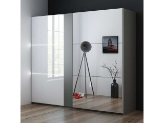 TITAN 250cm Szafa przesuwna, grafitowy-siwy + biały połysk, lustro + LEDY