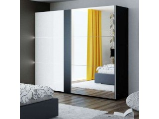 TITAN wardrobe 200cm, black/white gloss + large mirror + LED