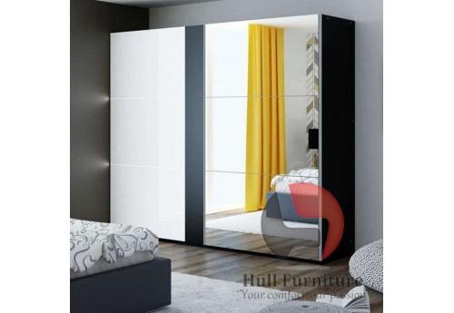 TITAN wardrobe 200cm, black/white gloss + large mirror + LED