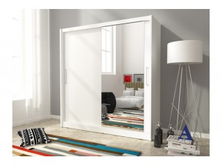 Maya wardrobe 200cm, 1 large mirror, white matt