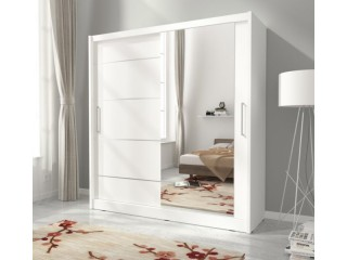 Maya I Alu wardrobe 180cm, 1 large mirror, white matt