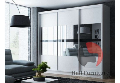 BATIA wardrobe 250cm, 3 mirrors with black glass, white matt
