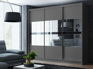 BATIA wardrobe 250cm, 3 mirrors with black glass, graphite